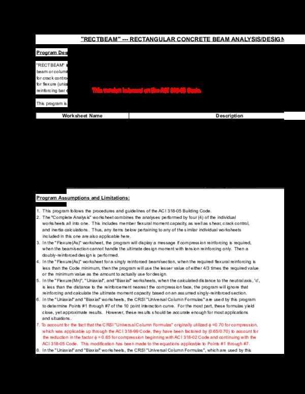 XLS) RECTBEAM (318-05) | Noemi Chavarria - Academia edu