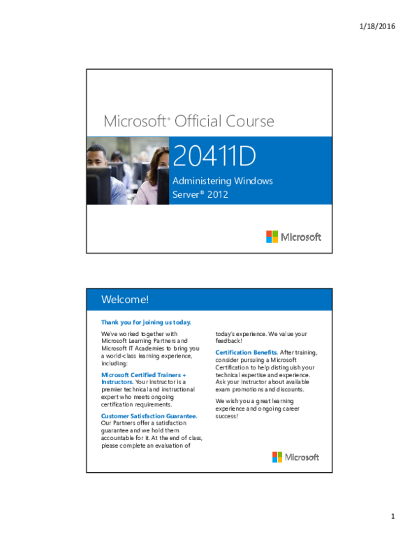 PDF) Microsoft ® Official Course 20411D Administering Windows Server