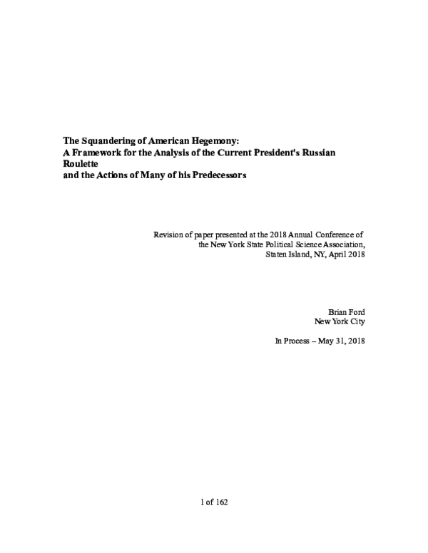 DOC) THE SQUANDERING OF AMERICAN HEGEMONY: A Framework for the