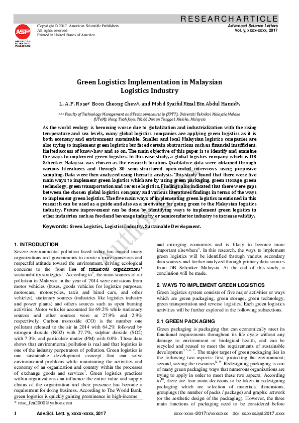 PDF) Green Logistics Implementation in Malaysian Logistics Industry