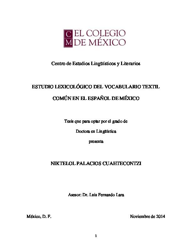 Estudio lexicológico del vocabulario textil común en el español de ... 26de774ff2e