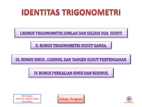 Ppt Identitas Trigonometri Pptx Al I K H L A S S Pd M Pd Academia Edu