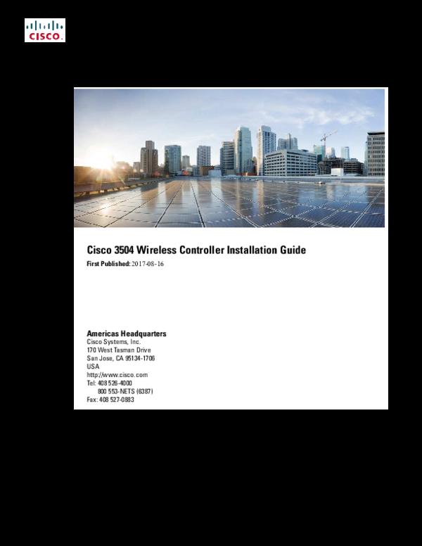 PDF) Cisco 3504 Wireless Controller Installation Guide