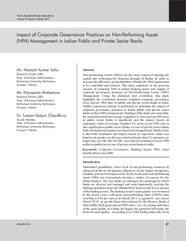 PDF) Impact of Corporate Governance Practices on Non-Performing