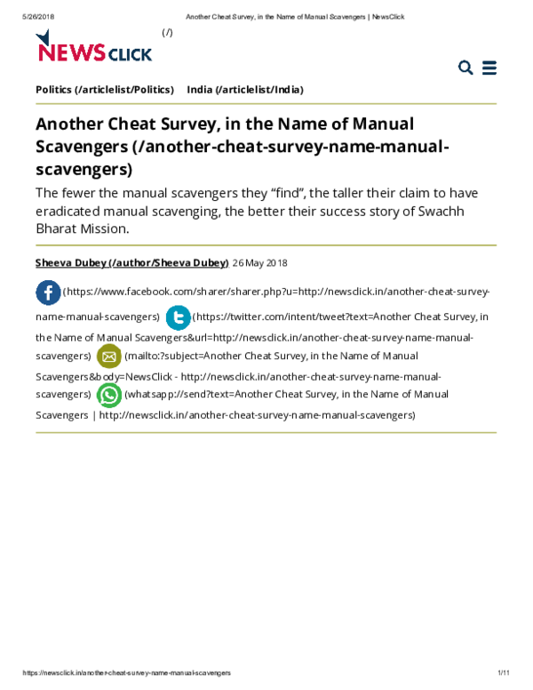 PDF) Another cheat survey, in the name of manual scavengers