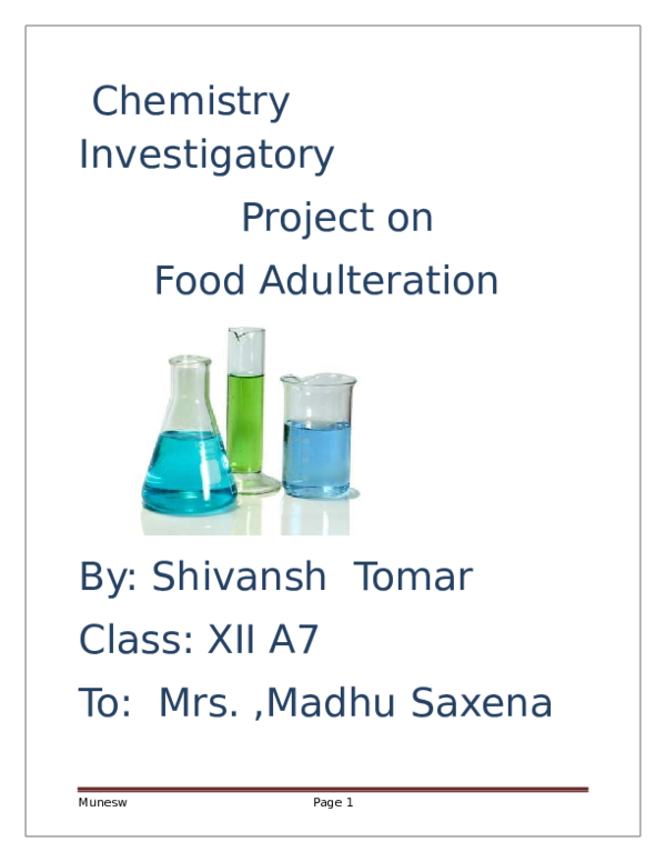 Food Adulteration Pdf