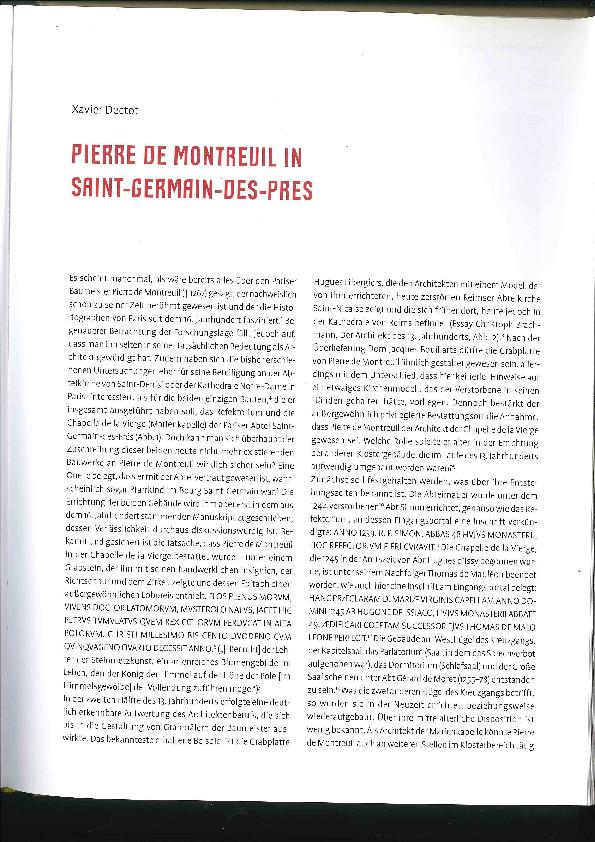 PDF) Pierre de Montreuil in Saint-Germain-des-Prés | Xavier