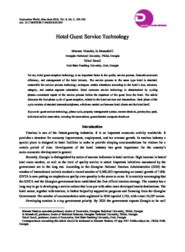PDF) Hotel Guest Service Technology | Economics World ISSN