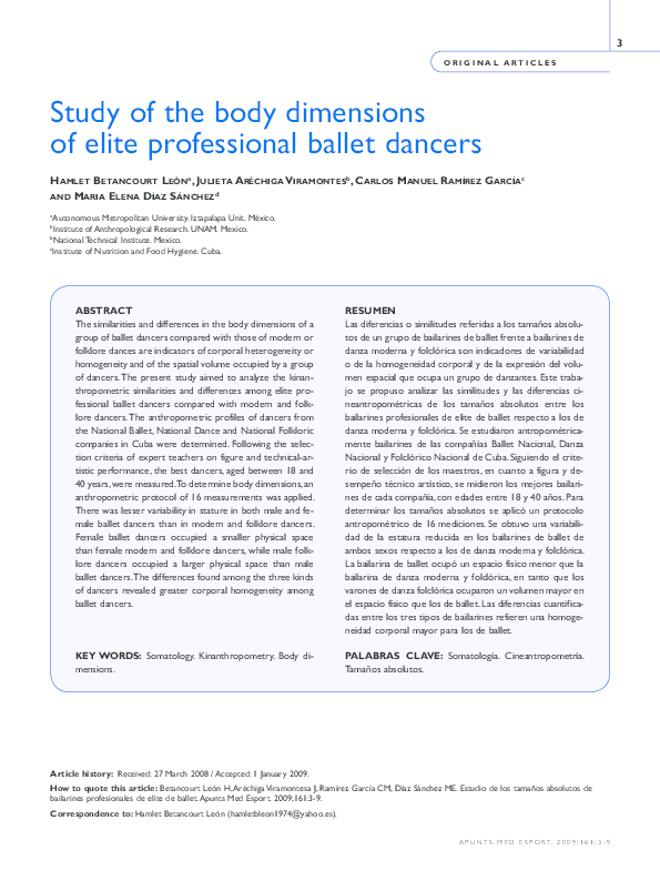 PDF) Study of the body dimensions of elite professional