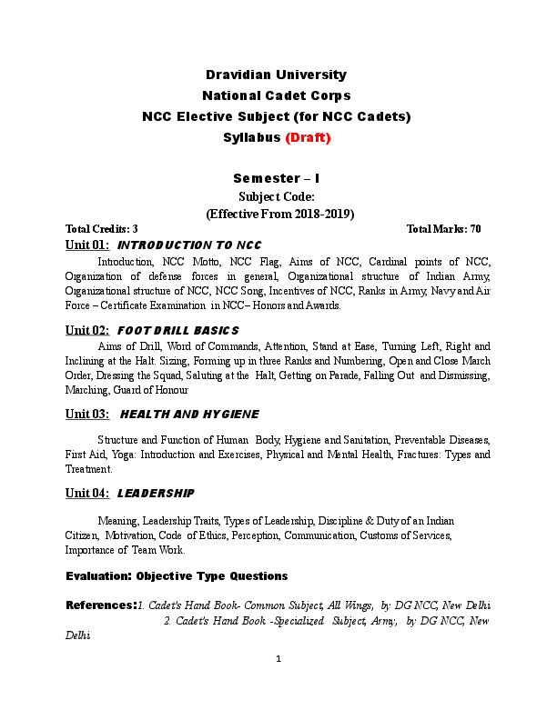 DOC) National Cadet Corps NCC Elective Subject (for NCC