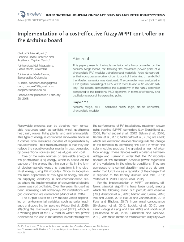 PDF) Implementation of a cost-effective fuzzy MPPT controller on the