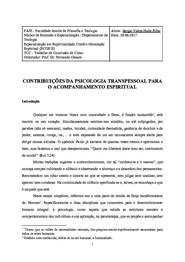 Psicologia Transpessoal Pdf