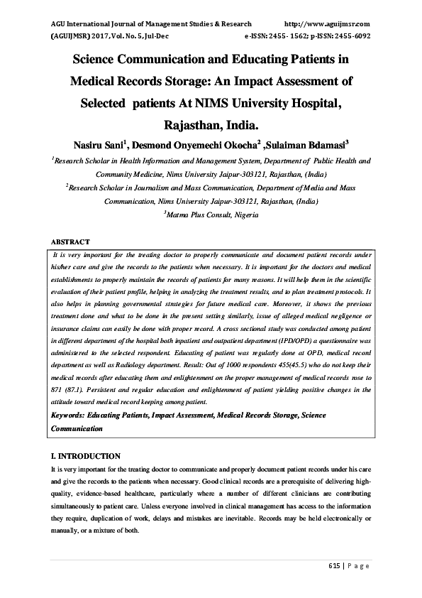 PDF) Science Communication and Educating Patients in Medical Records