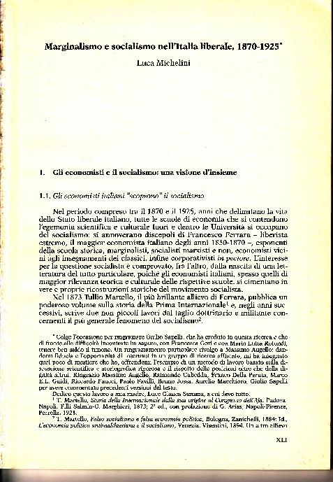 PDF) Marginalismo e socialismo nell'Italia liberale 1870