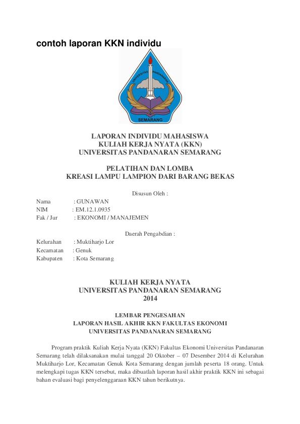 Doc Contoh Laporan Kkn Individu Kuliah Kerja Nyata Universitas Pandanaran Semarang 2014 Rafael Lee Academia Edu