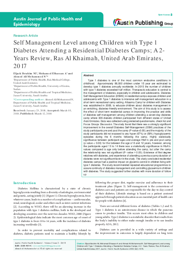 PDF) Self Management Level among Children with Type 1 Diabetes