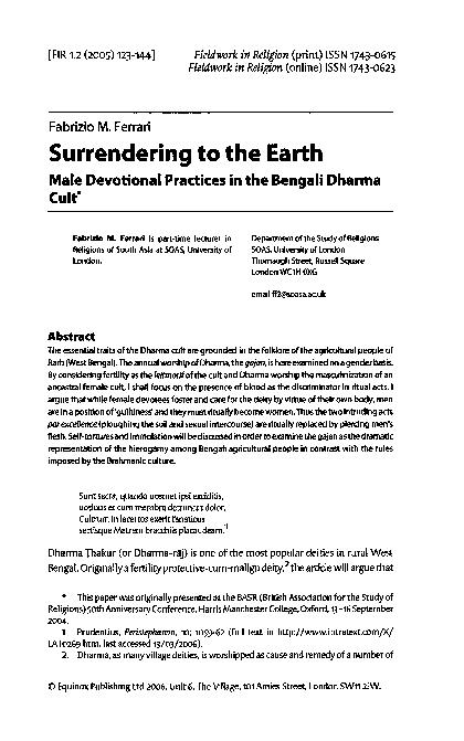 PDF) Surrendering to the Earth. Male devotional practices in the Bengali  Dharma cult.   Fabrizio Ferrari - Academia.edu