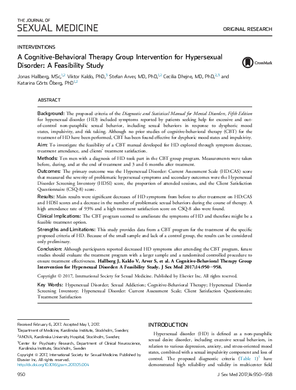 PDF) A Cognitive-Behavioral Therapy Group Intervention for