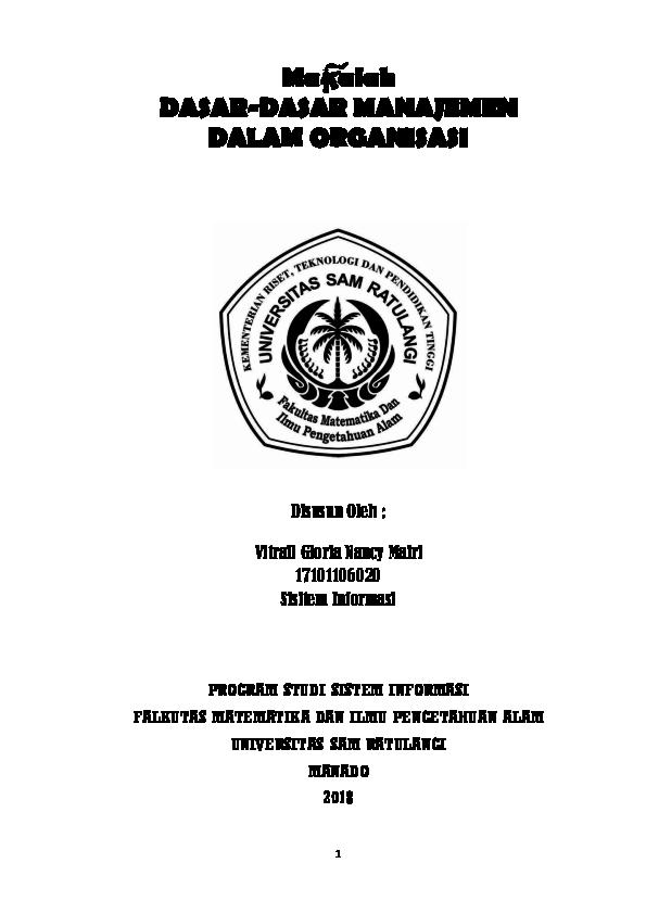 Pdf Makalah Dasar Dasar Manajemen Dalam Organisasi Vitrail Gloria Mairi Academia Edu