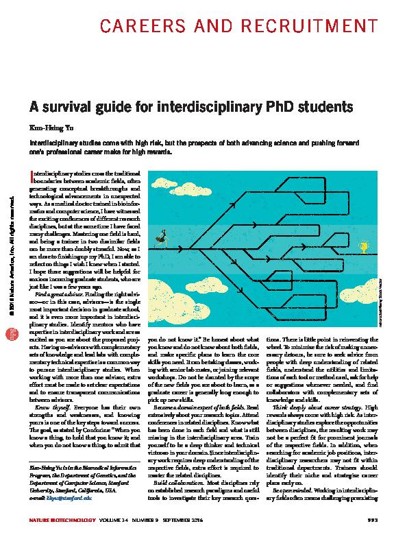 PDF) A survival guide for interdisciplinary PhD students