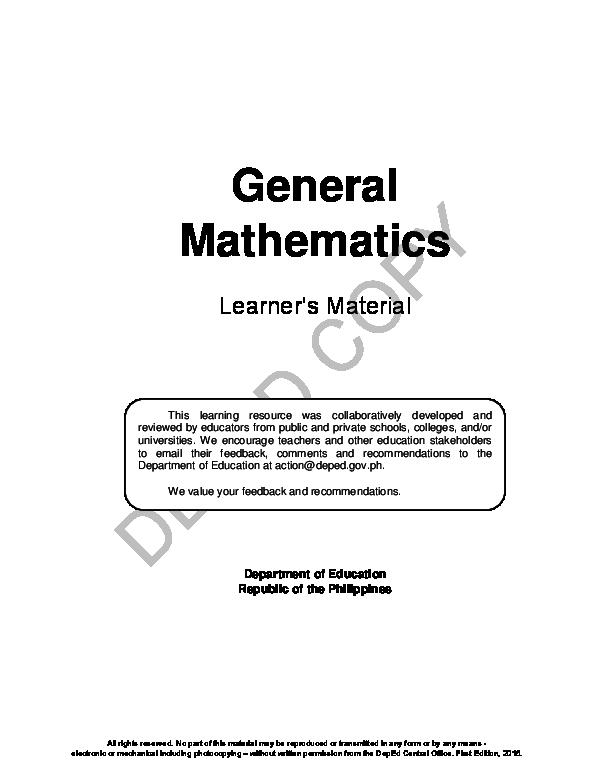 PDF) General Mathematics Learner's Material Department of