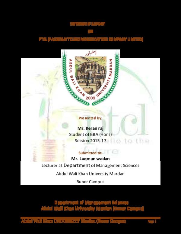 PDF) INTERNSHIP REPORT ON PTCL (PAKISTAN TELECOMMUNICATION