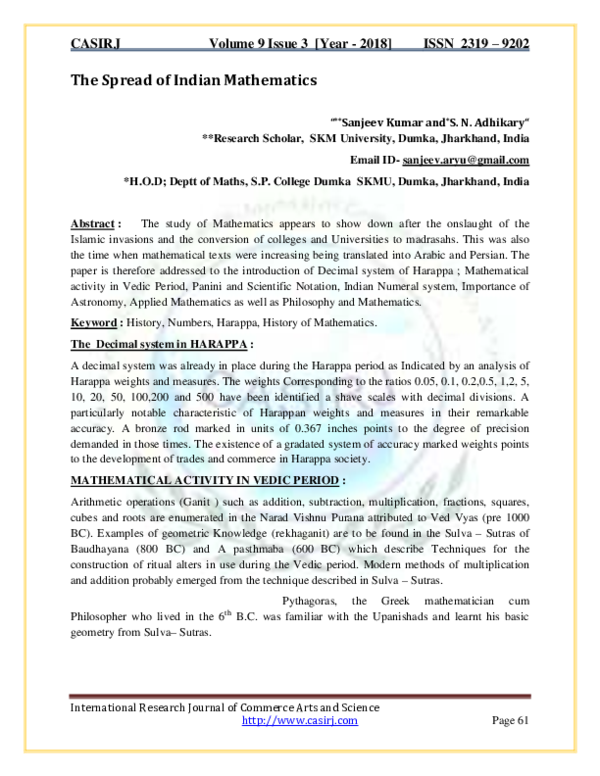 PDF) The Spread of Indian Mathematics | International
