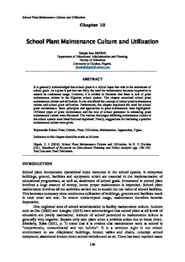 PDF) School Plant Maintenance Culture and Utilization