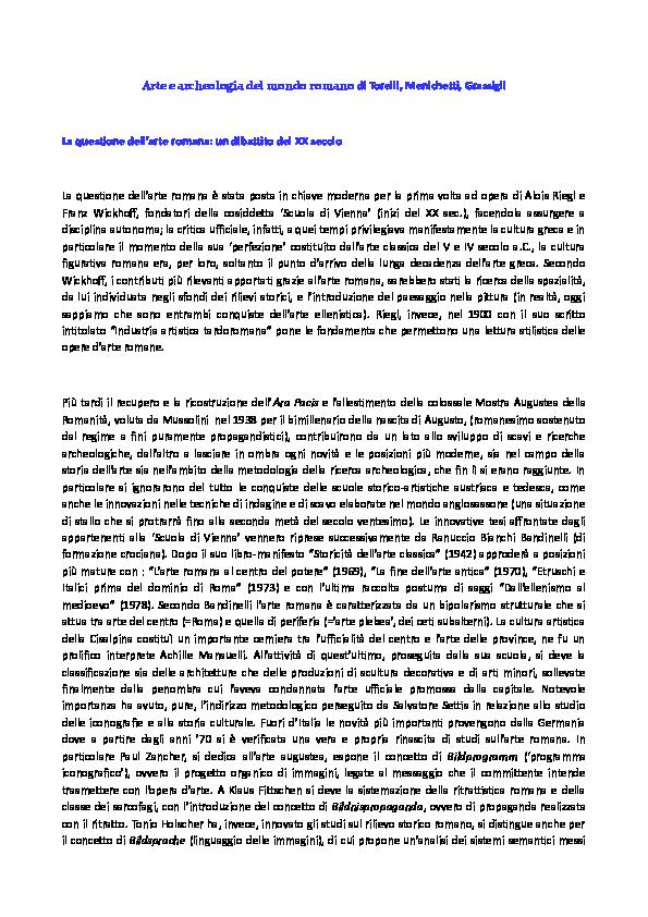 Il Calendario Romano Riassunto.Doc Arte E Archeologia Del Mondo Romano Riassunto Torelli