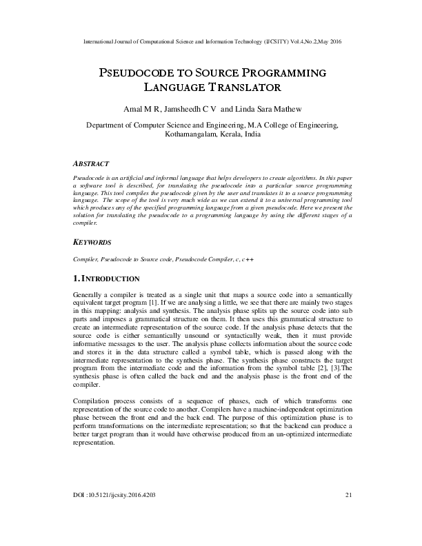 PDF) PSEUDOCODE TO SOURCE PROGRAMMING LANGUAGE TRANSLATOR