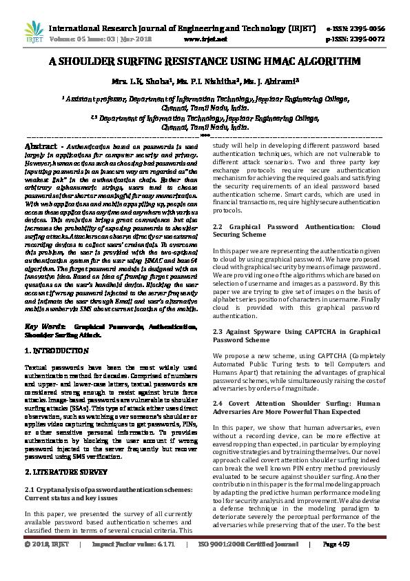 PDF) A SHOULDER SURFING RESISTANCE USING HMAC ALGORITHM | IRJET