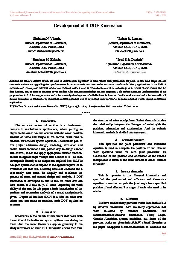 PDF) Development of 3 DOF Kinematics | International Journal IJRITCC