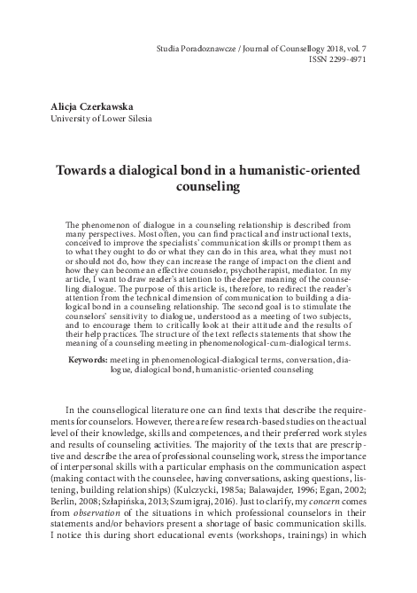 Pdf Towards A Dialogical Bond In A Humanistic Oriented