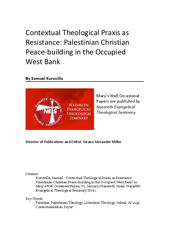 PDF) CONTEXTUAL THEOLOGICAL PRAXIS AS RESISTANCE