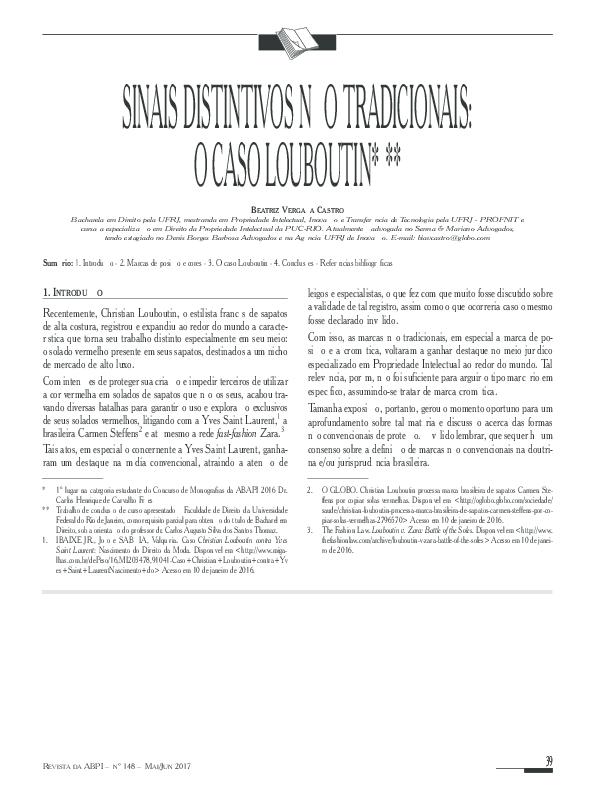 ce051995d PDF) Sinais Distintivos Não Tradicionais: O Caso Louboutin | Beatriz ...