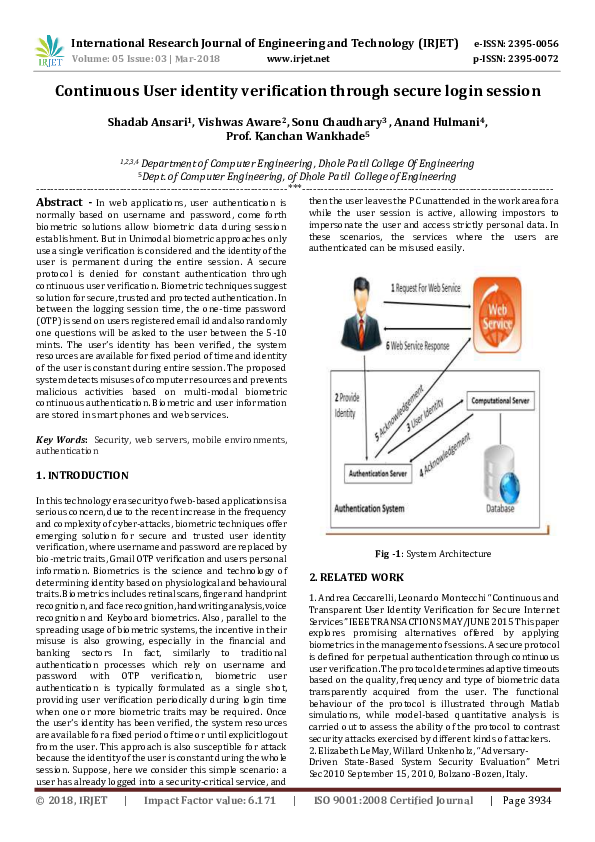 Continuous User identity verification through secure login session