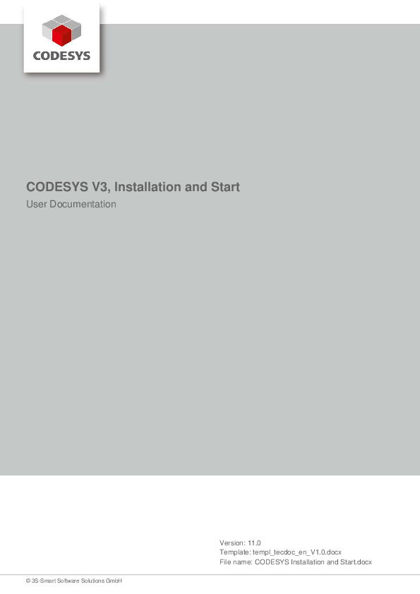 PDF) CODESYS V3, Installation and Start User Documentation | yasar