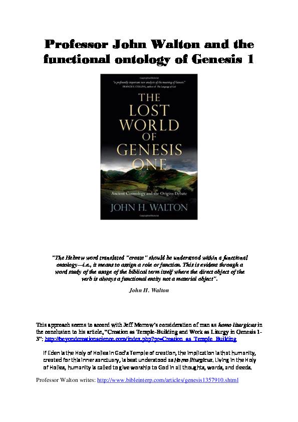 DOC) Professor John Walton and the functional ontology of