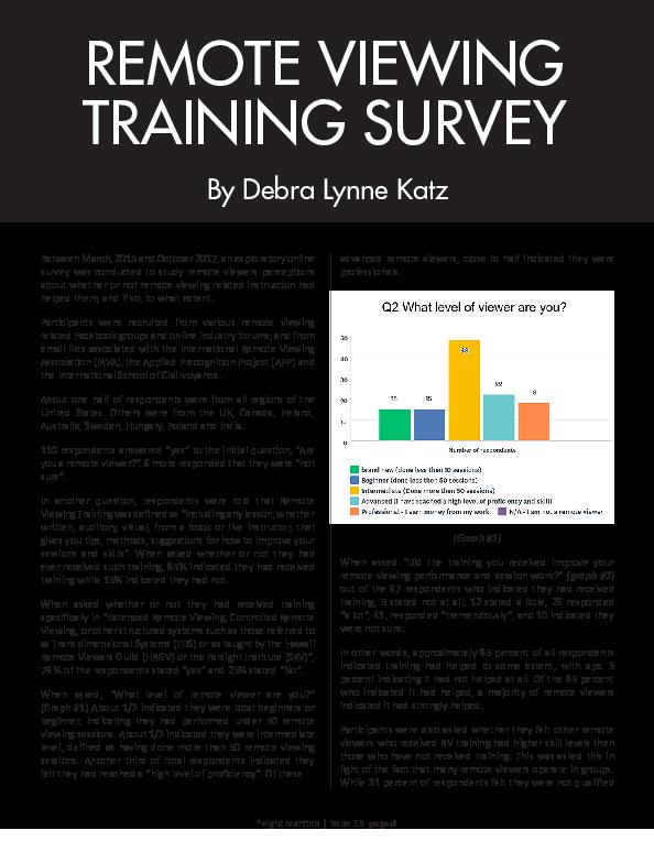 Pdf Remote Viewing Training Survey By Debra Lynne Katz Debra L Y N N E Katz Academia Edu