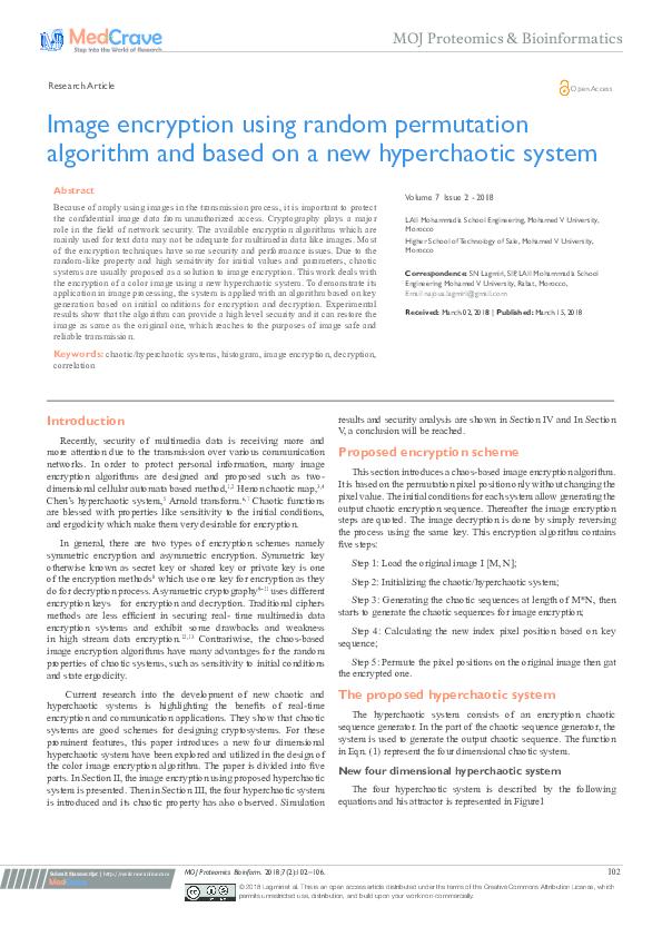 PDF) Image encryption using random permutation algorithm and based