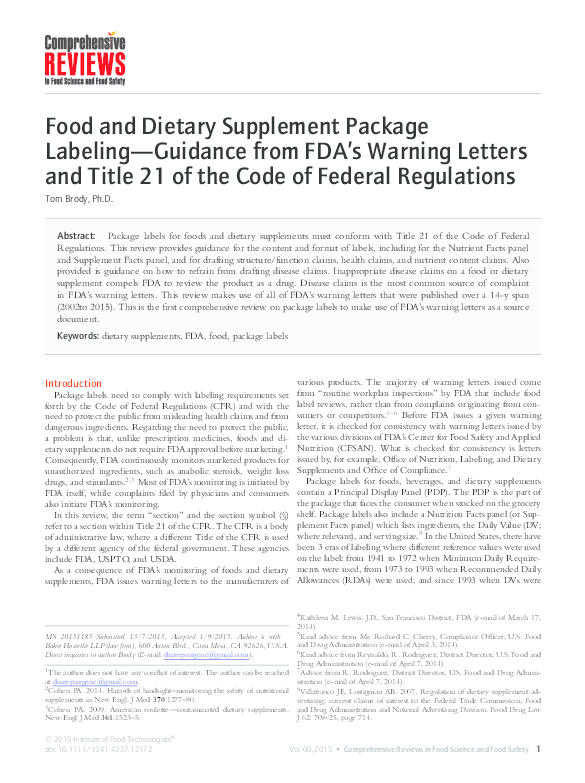 PDF) Food and Dietary Supplement Package Labeling—Guidance