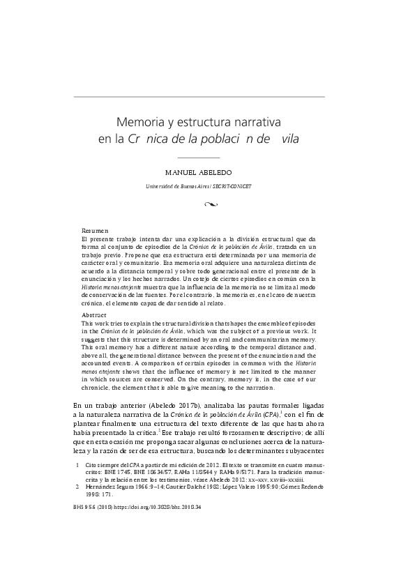 Pdf Memoria Y Estructura Narrativa En La Crónica De La