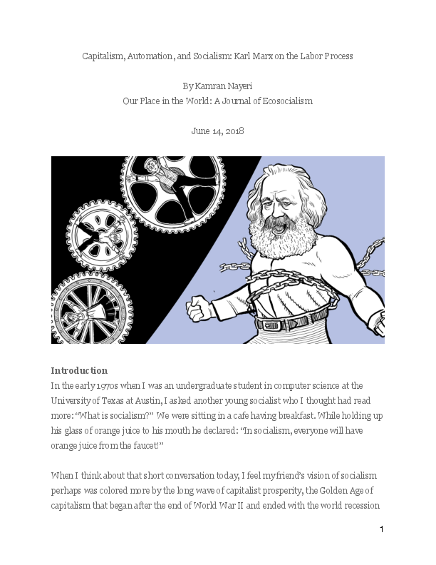 PDF) Capitalism, Automation, and Socialism: Karl Marx on the