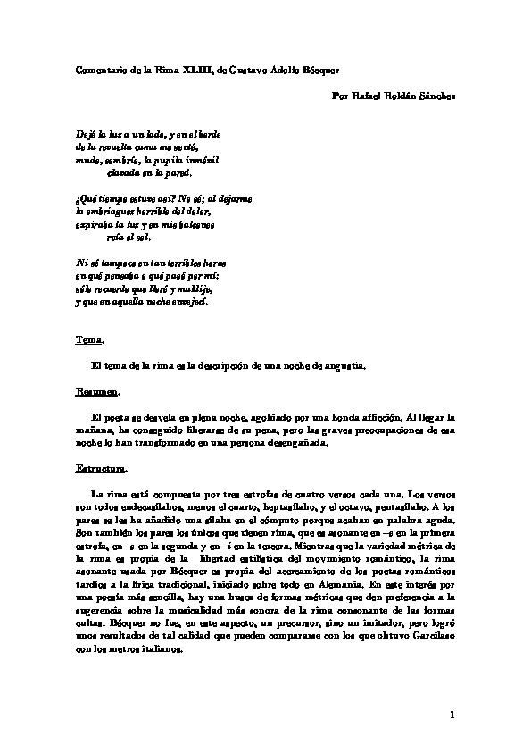 Pdf Comentario Sobre La Rima Xliii De Gustavo Adolfo