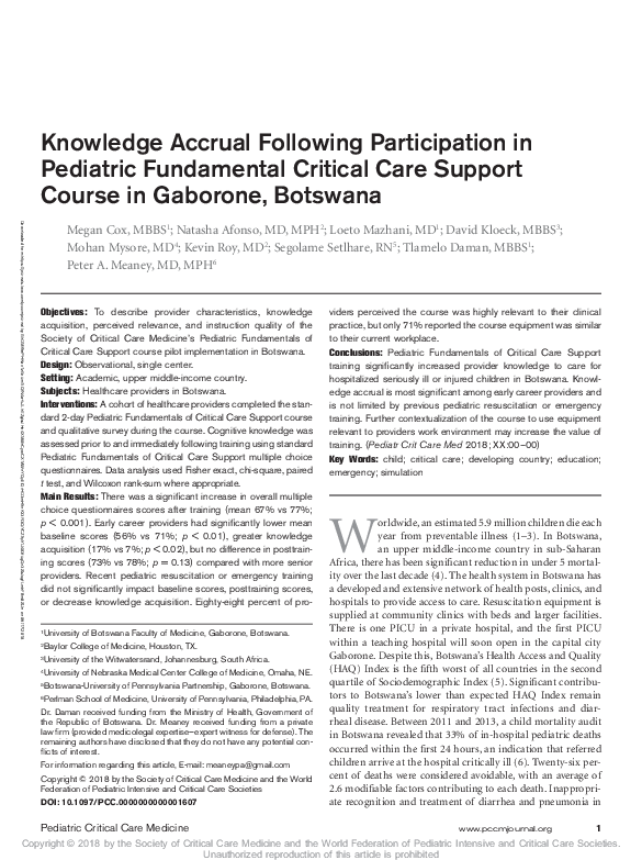 PDF) Pediatric Critical Care Medicine | Megan Cox - Academia edu