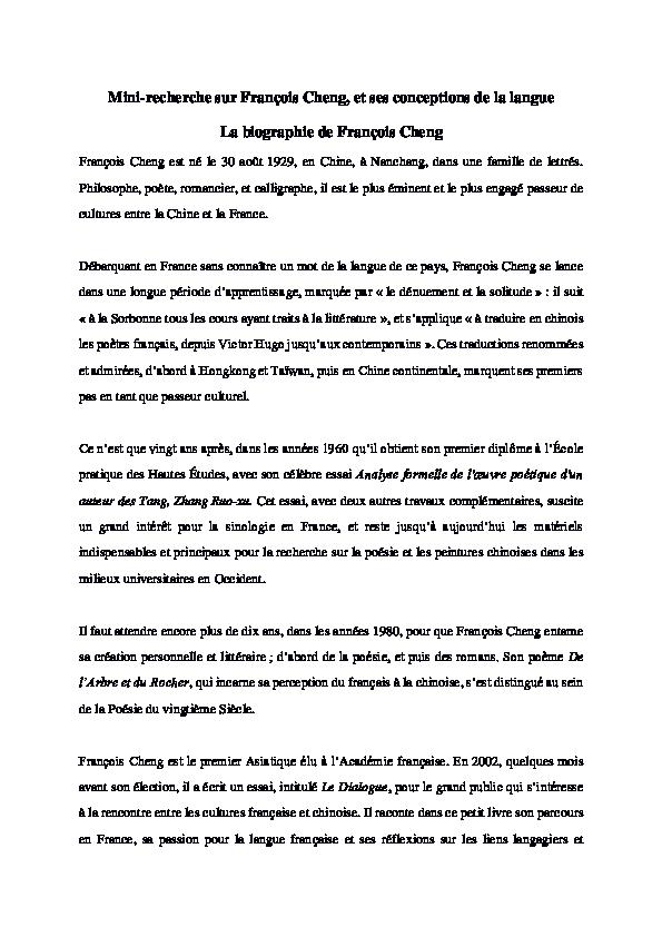 Pdf Mini Recherche Sur Franç Ois Cheng Et Ses Conceptions