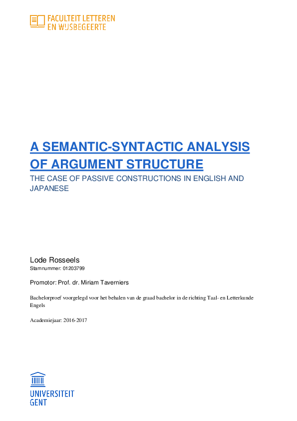 a semantic-syntactic analysis of argument structure the case of