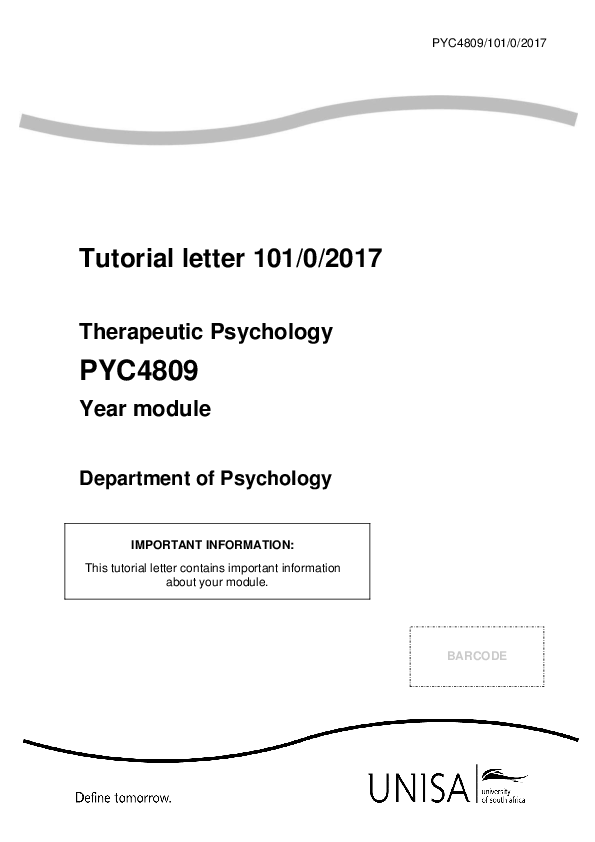 PDF) Tutorial letter 101/0/2017 Therapeutic Psychology