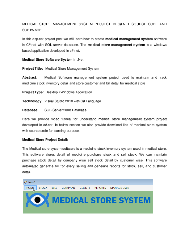 DOC) MEDICAL STORE MANAGEMENT SYSTEM PROJECT IN C# NET