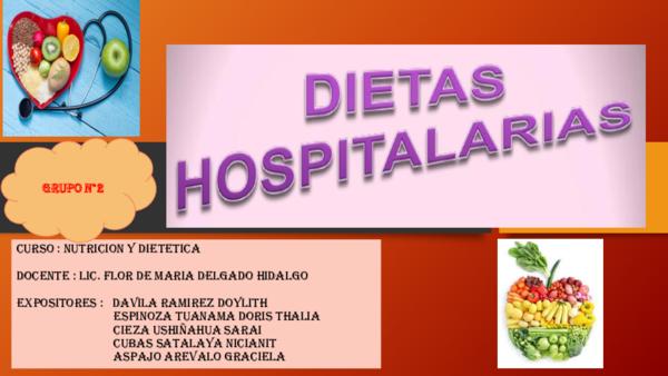 tipos de dietas para pacientes hospitalarios